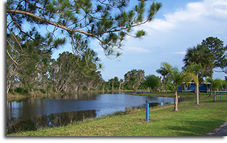 streamside at Crystal Lake RV Park near Titusville, FL