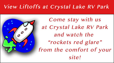 come to crystal lake rv park and view the liftoffs on the space coast in Florida